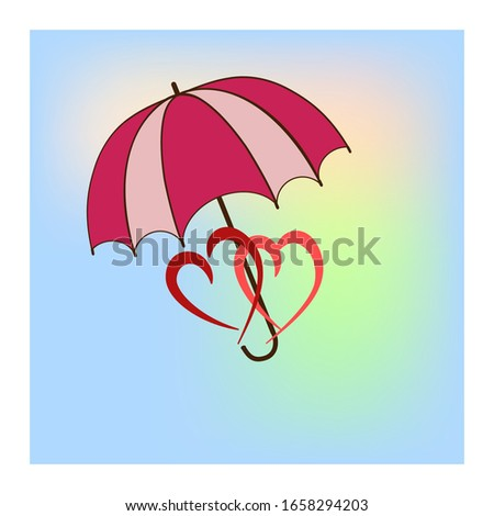 umbrella and two heart in