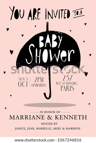 umbrella baby girl baby shower invitation card template vector/illustration