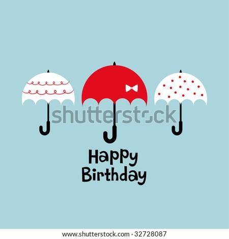 Umbrella Birthday Card Design Stock Vector 32728087 : S