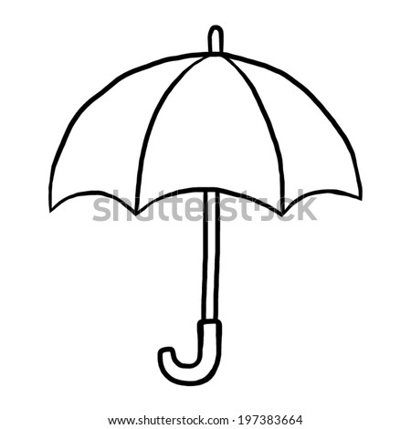 umbrella / cartoon vector and illustration, black and white, hand drawn, sketch style, isolated on white background.