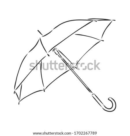 Umbrella coloring, linear drawing, outline, vector sketch, icon, monochrome, contour illustration. Black and white open umbrella