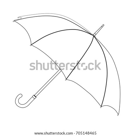 Umbrella coloring, linear drawing, outline, vector sketch, icon, monochrome, contour illustration. Black and white open umbrella, isolated on a white background