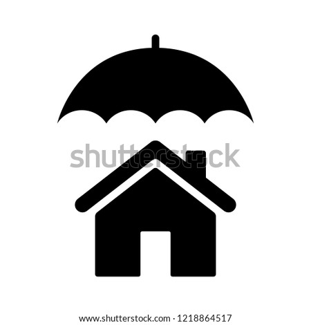 Umbrella covering house or home / homeowners insurance flat vector icon for real estate apps and websites