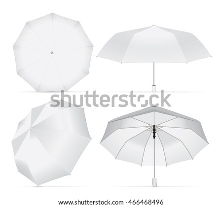 Umbrella for your design and logo. Easy to change colors. Mock up. Vector template