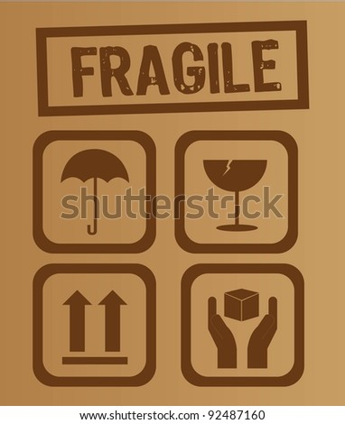 umbrella,glass, arrow and hands box signs vector illustration