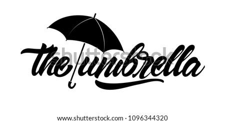 Umbrella icon. Black Umbrella with lettering. Vector illustration design.