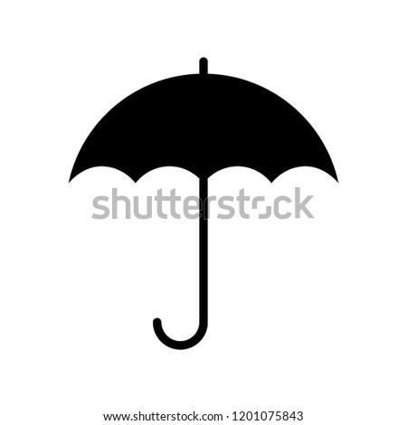 Umbrella icon. Graphic sign umbrella. Black symbol umbrella isolated on white background. Umbrella silhouette. Stock vector illustration