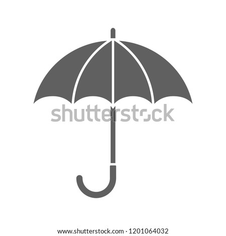 Umbrella icon. Graphic sign umbrella. Gray symbol umbrella isolated on white background. Stock vector illustration