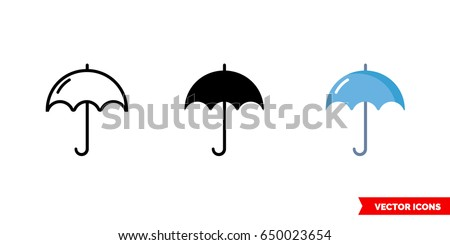Umbrella icon of 3 types: color, black and white, outline. Isolated vector sign symbol.