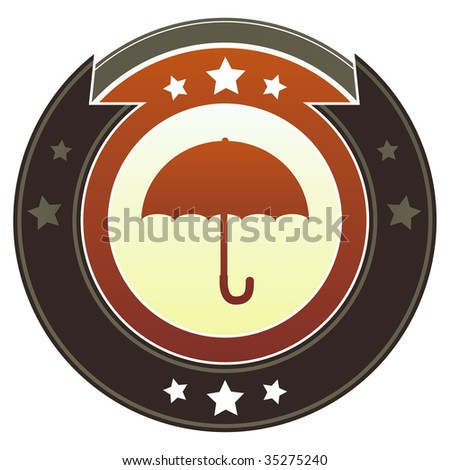 Umbrella icon on round red and brown imperial vector button with star accents suitable for use on website, in print and promotional materials, and for advertising.
