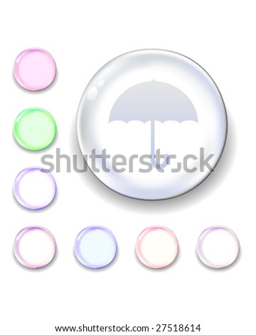 Umbrella icon on translucent glass orb vector button