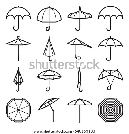umbrella icons linear symbols