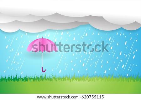 umbrella in rainy season,Rain cloud vector