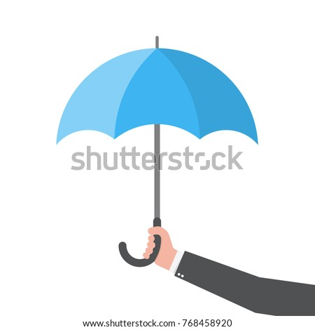 Umbrella in the hand, isolated. Vector illustration. Umbrella in flat design