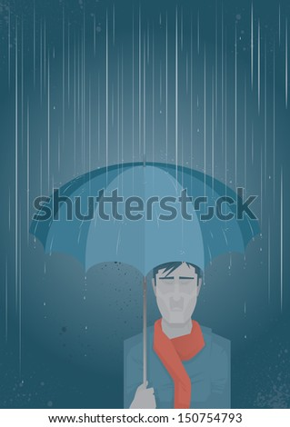 Umbrella Man An emotional man under an umbrella which is shielding him from the pouring rain.