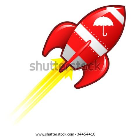 Umbrella or protection icon on red retro rocket ship illustration
