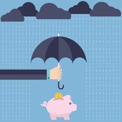 Umbrella protecting savings. vector illustration flat design