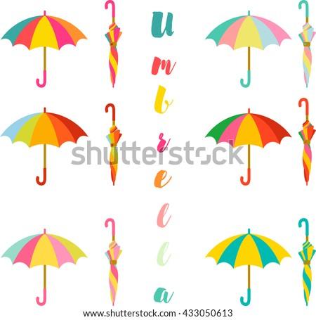 Umbrella, Set of colorful open and closed umbrella