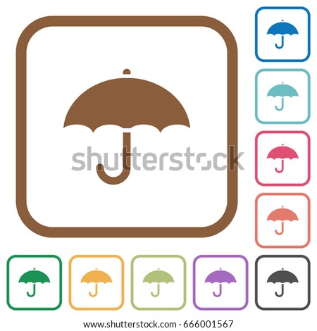 umbrella simple icons in color