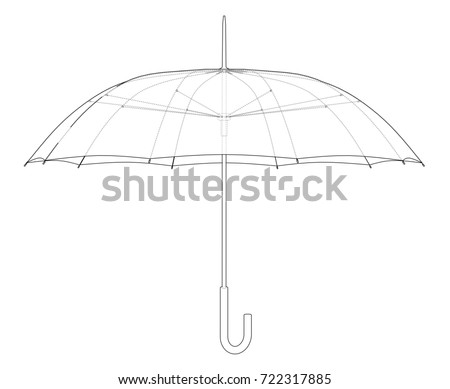 Umbrella sketch. Vector rendering of 3d. Wire-frame style. The layers of visible and invisible lines are separated