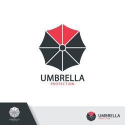 Umbrella symbol icon design isolated on white background. Vector illustration, Logo template design.