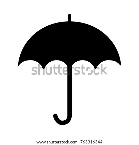 Umbrella symbol on the white background silhouette