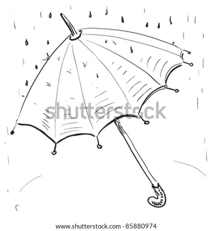 Stock Vector Umbrella Under The Rain Hand Drawing Cartoon Sketch Illustration In Childish Doodle Style 85880974