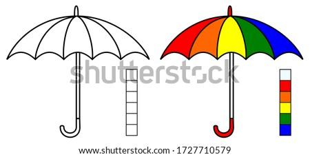 umbrella vector, coloring book or page, vector illustration