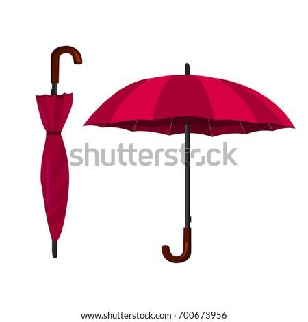 Umbrella. Vector illustration. Open and closed umbrellas.