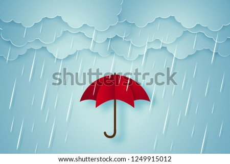 umbrella with heavy rain  rainy