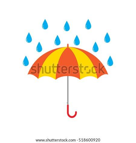 Umbrella with rain drops vector