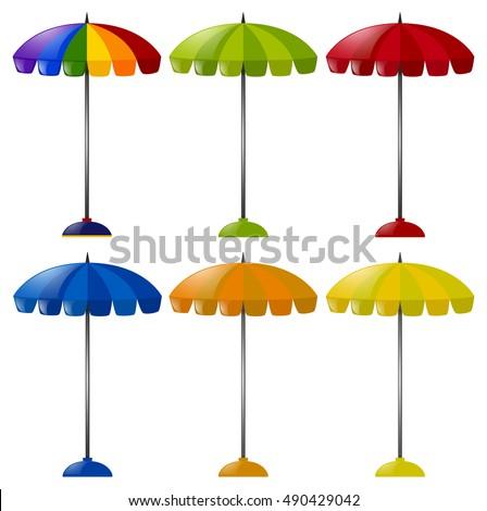 umbrellas in six different