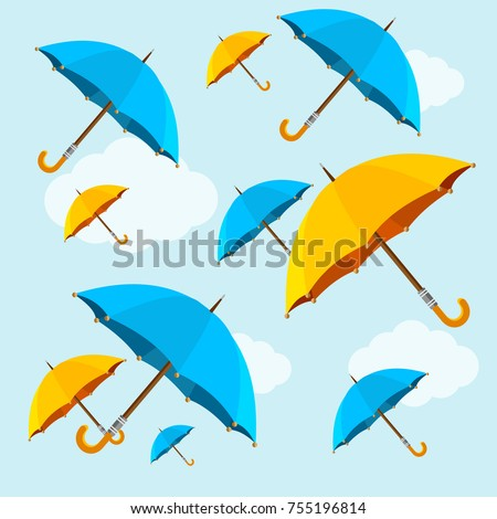 Umbrellas Yellow and Blue Fall on Sky Background Flat Design Style Symbol of Comfort. Vector illustration of Falling Umbrella