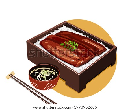 Unagi Kabayaki Japanese Ele Grilled with sweet sauce in bento box with soup and chopsticks. Isolated Unagi bento on white background. Asian Food drawing vector illustration
