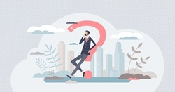 Uncertainty and doubt in business questions or decisions tiny person concept. Businessman pondering and looks thoughtful or confused vector illustration. Thinking about solution in unclear situation.
