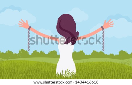 unchained woman with stretched