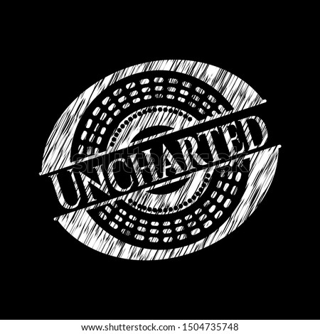 uncharted written on a