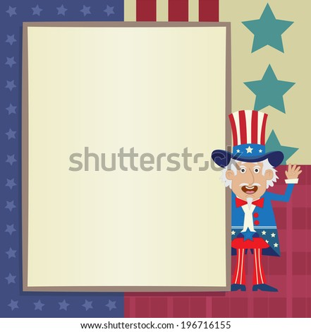 Uncle Sam Banner - Decorative blank banner with Uncle Sam standing next to it. Eps10