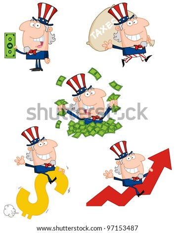 Uncle Sam Cartoon style. Vector Collection.Jpeg version also available in gallery.