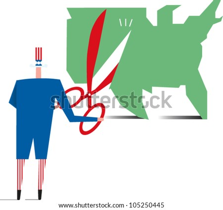 Uncle Sam cutting into a map of the U.S.
