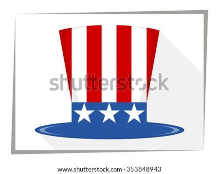 Uncle Sam Hat Flat Vector Illustration