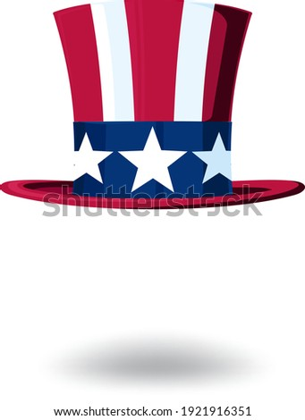 Uncle Sam's hat in a top hat stylized under the Stars and Stripes USA flag Zdjęcia stock ©
