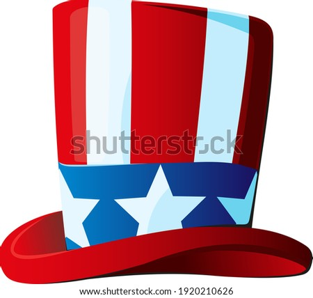 Uncle Sam's hat in a top hat stylized under the Stars and Stripes USA flag side view  Zdjęcia stock ©