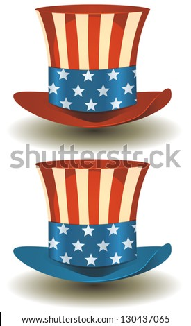 Uncle Sam\'s Top Hat For American Holidays/ Illustration of a set of two american patriot uncle sam hat with stars and stripes