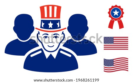 Uncle Sam team icon in blue and red colors with stars. Uncle Sam team illustration style uses American official colors of Democratic and Republican political parties, and star shapes. Zdjęcia stock ©