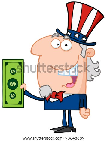 Uncle Sam With Holding A Dollar Bill