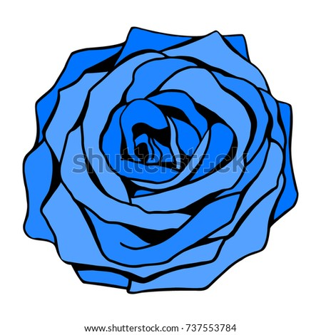 Uncommon fantasy blue rose blossom bud isolated on white background good for logo, textile print, stained glass art, unusual beauty symbol.