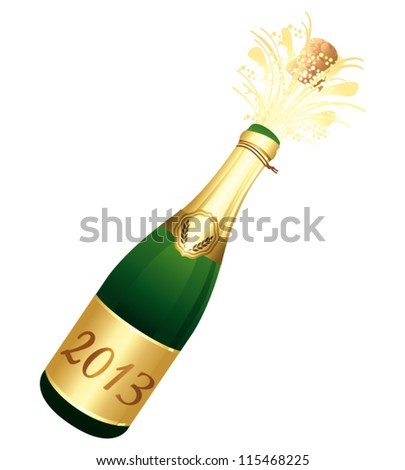 Uncorked Champagne Bottle 2013. Vector illustration.