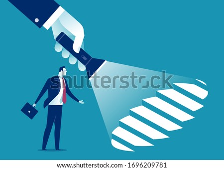 Uncovering career steps. A hand holding a flashlight uncovering hidden stairs. Business vector illustration