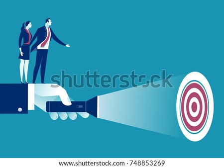 Uncovering Target. A hand holding a flashlight uncovering hidden target. Business vector concept illustration